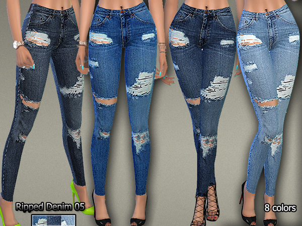 Ripped Denim Jeans05 by Pinkzombiecupcakes