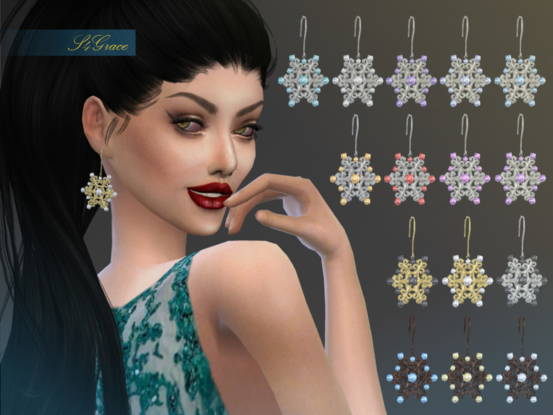 [S4Grace] - Snowflake Earrings BY S4grace