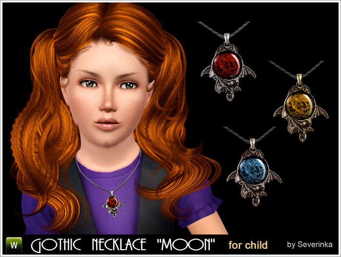 Gothic necklace MOON for child by Severinka