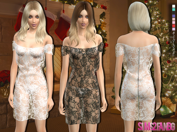121 - Lace dress with bra and bikini by sims2fanbg