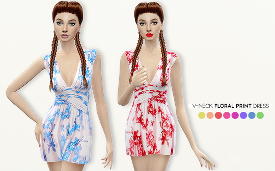 V-NECK FLORAL PRINT DRESS By  LEELOO