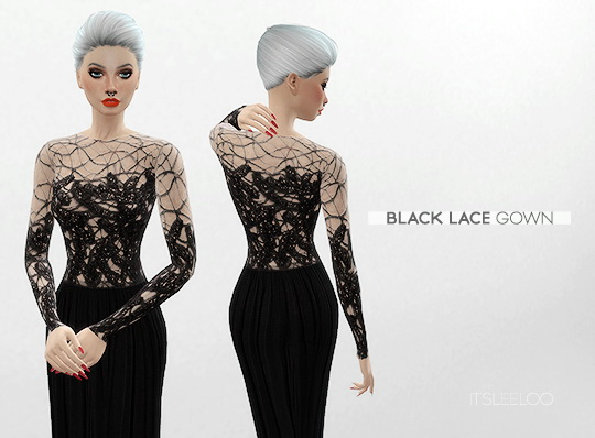 BLACK LACE GOWN By LEELOO