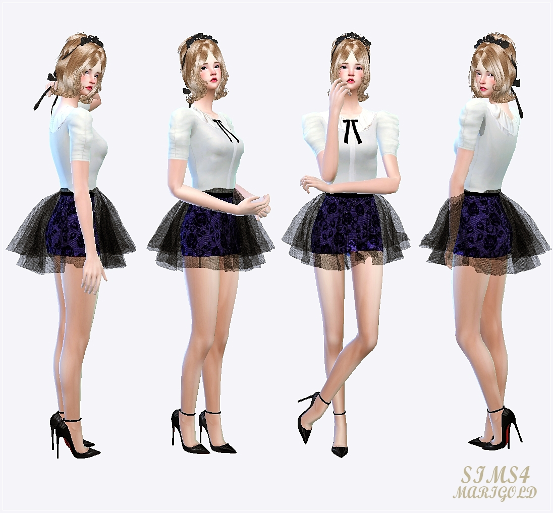 Marigold voluminous ballerina mini skirt v2(pattern)