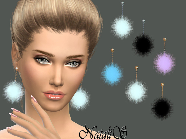 NataliS_Drop fur ball earrings