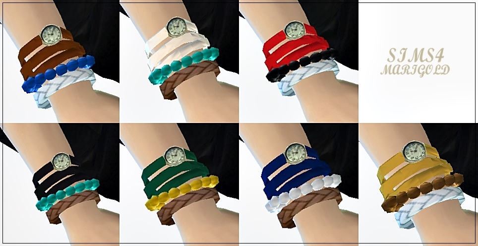 sims4marigold strap watch with bracelet