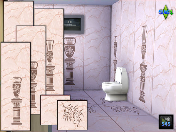 Bathroom Wallpaper and Floors by Mabra