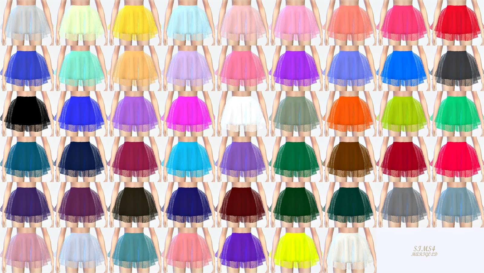 Marigold voluminous ballerina mini skirt v1(solid color)
