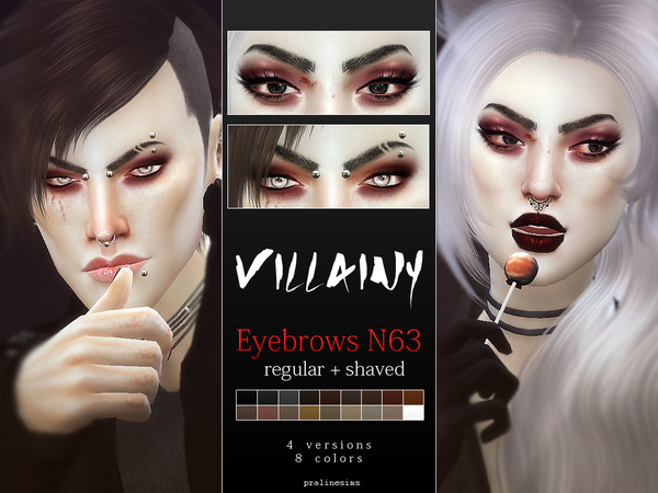 Villainy Eyebrows  Shaved + Natural by Pralinesims