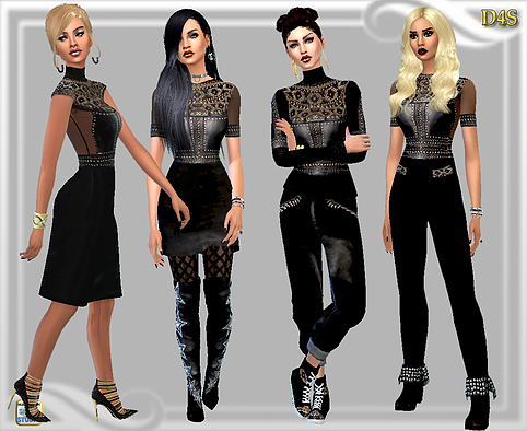 MMXVI Set Set includes -Short dress,Knee length dress, Tops, Pants, Tights,Gym shoes,and Jumpsuit By D4S
