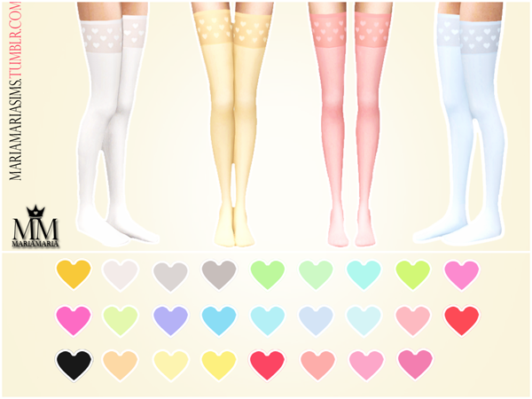 Heart Print Stockings by MariaMariaSims