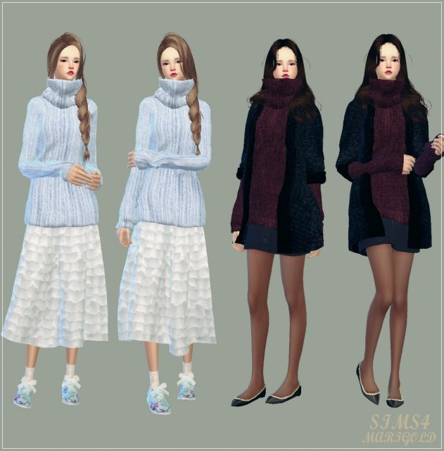 tight turtleneck long sweater by marigold