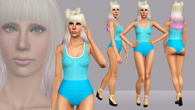Eh Eh  Blue Pinstripe Bathsuit by ARTSIMS