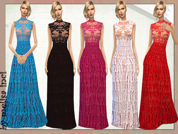 Lace Ruffle Maxi Dress by melisa inci