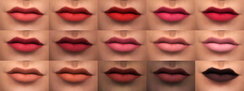 Lips in 15 Colors by DownInSimsland