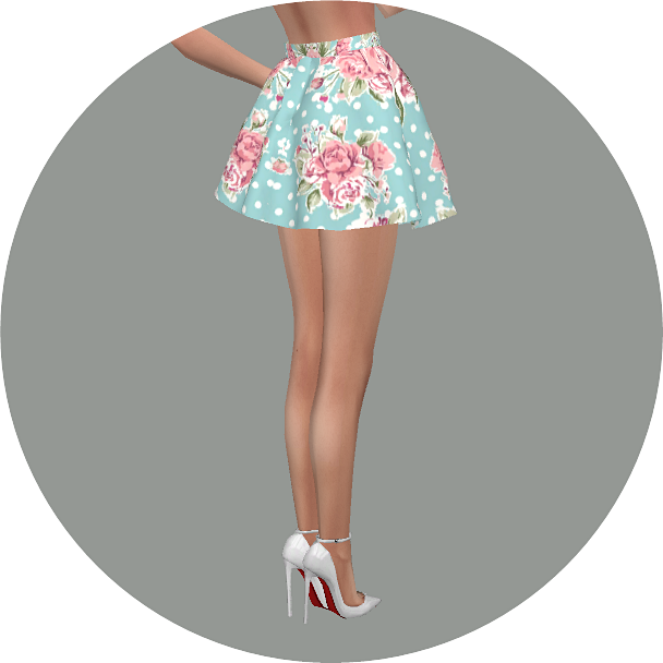 Marigold  Clothing, Female : Flare skirt V3 flower