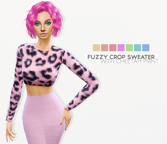 Leeloo  Clothing, Female : FUZZY CROP SWEATER WITH CHEETAH PRINT
