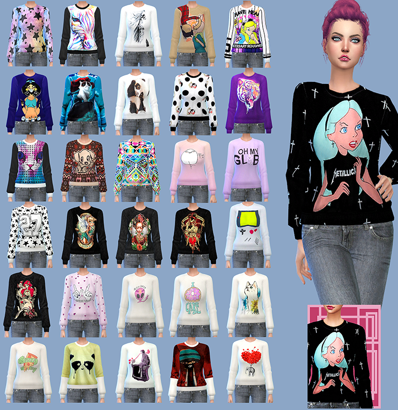 Gisheld  Clothing, Female : PinkQueen Sweaters ts4mm recolors