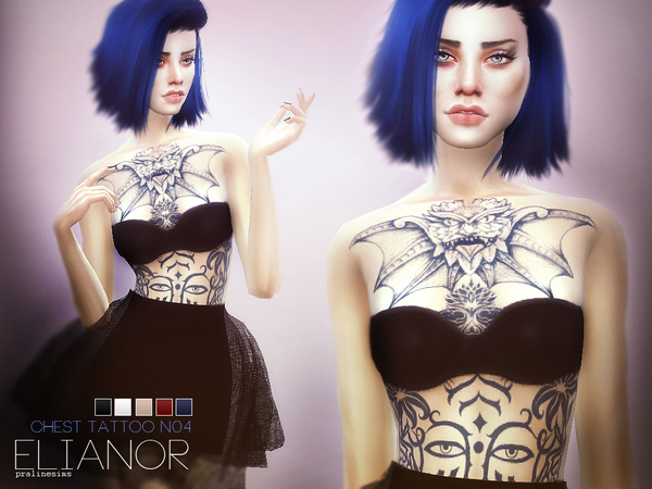Elianor ~ Chest Tattoo N04 by Pralinesims