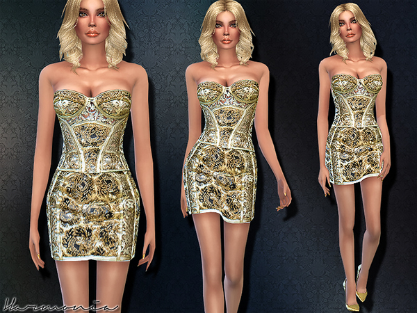 Haute-Couture Golden Corset Dress by Harmonia