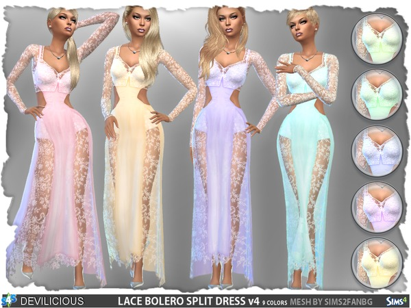 Lace Bolero Split Dress Set by Devilicious