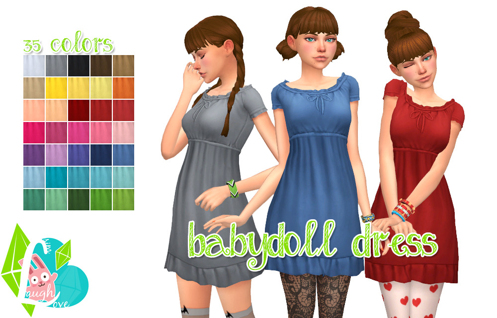 Babydoll Dress in 35 Colors by SimLaughLove