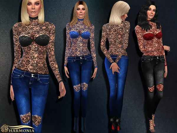 TS4 Fashionable Outfit 04 by Harmonia