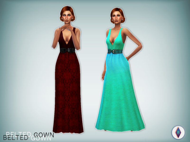 Movie Hangout Belted Gown Recolors by NiteSkkySims