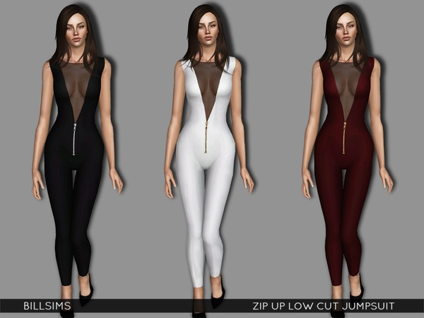Zip Up Low Cut Jumpsuit by Bill Sims