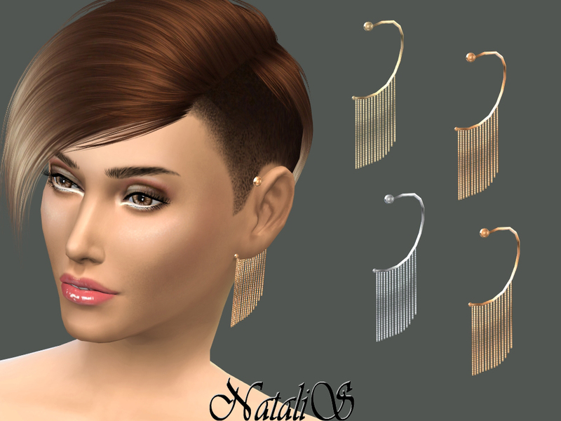 NataliS_Chain Fringe Ear Cuff Left