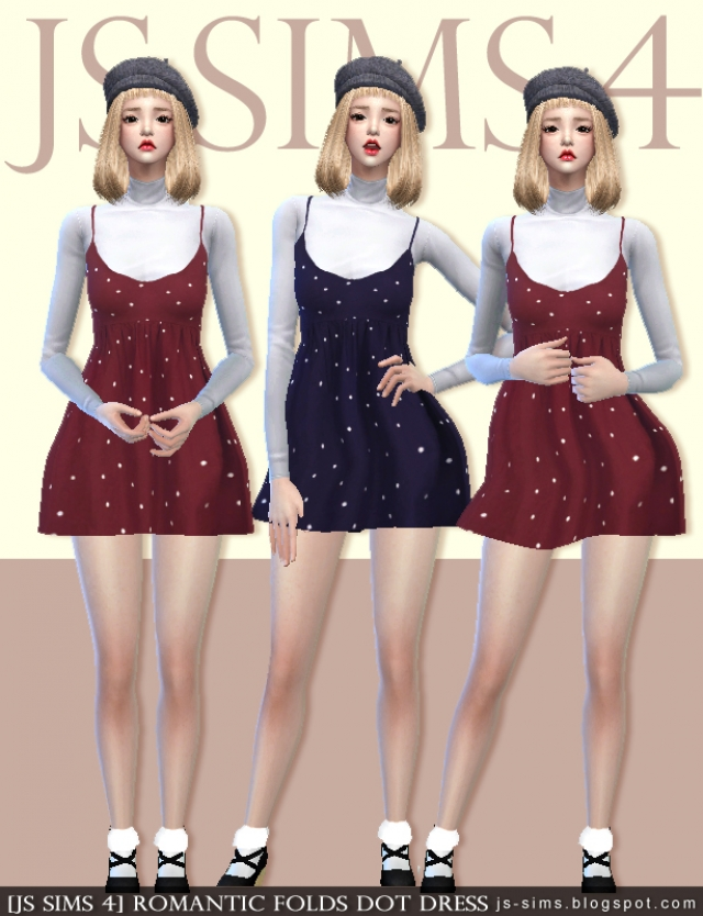 ROMANTIC FOLDS DOT DRESS by JS Sims 4