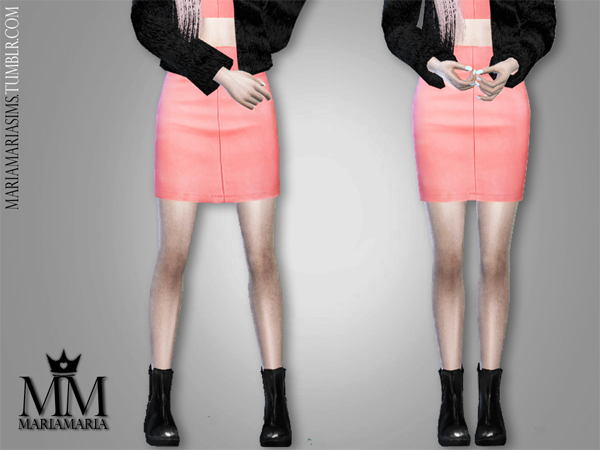 Pink Leather Top & Skirt by MariaMaria