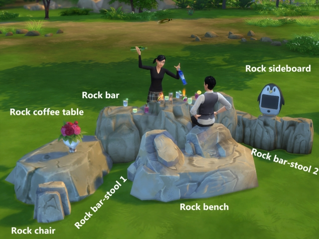 Rock bar set - Maxis mesh edit by Artrui