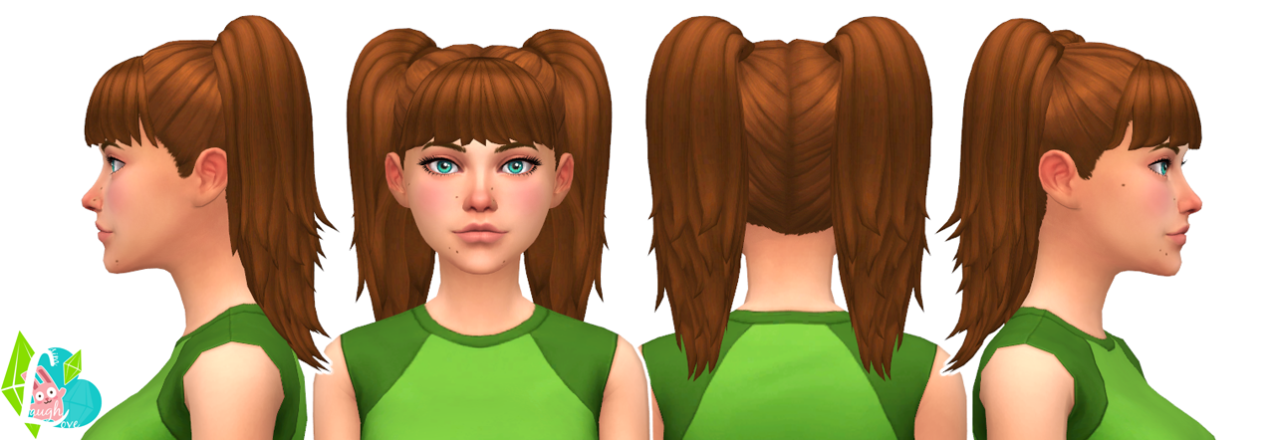 Sporty Twin Tails Hair Edits for Females by SimLaughLove