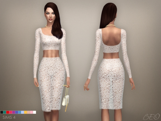 Lace transparent midi dress 03 (S4) by BEO