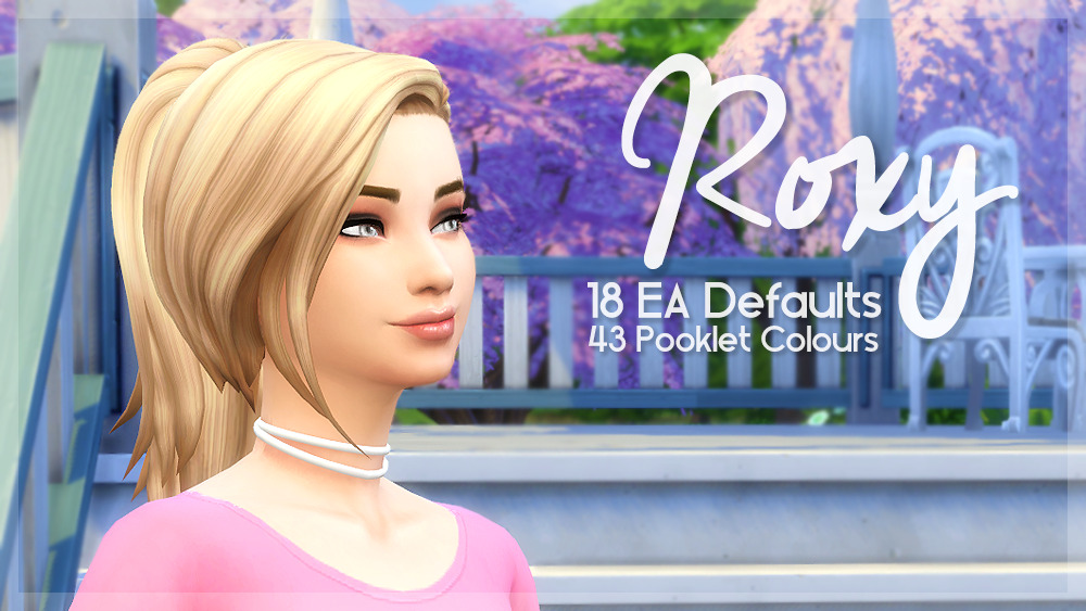 Roxy Hair Edit in 18 EA Defaults and 43 Pooklet Colors by SimBlob