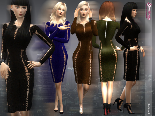 Lace-up Knit Dress by Simsimay
