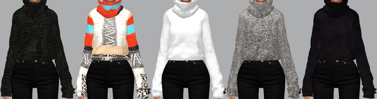 Cropped Sweater in 9 Recolors by ViirinSims
