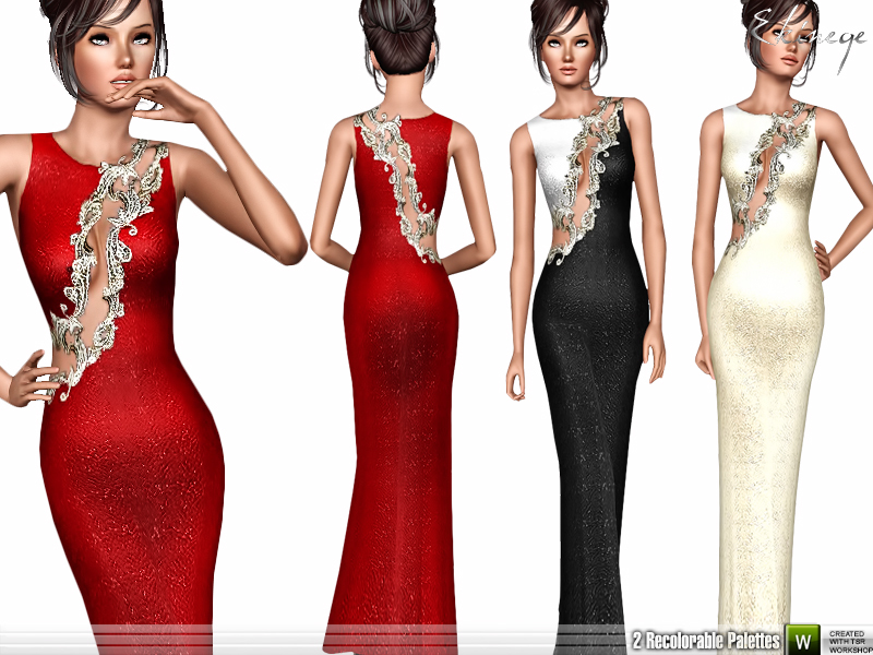 Embellished Asymmetric Gown BY ekinege