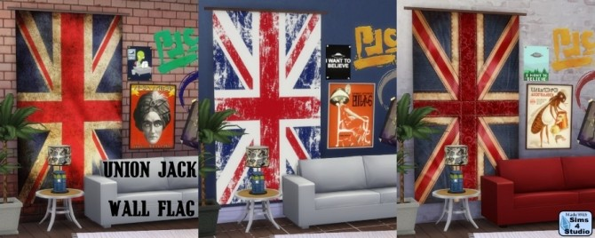 SIMS 4 STUDIO-Objects, Decor : Union Jack wall flag
