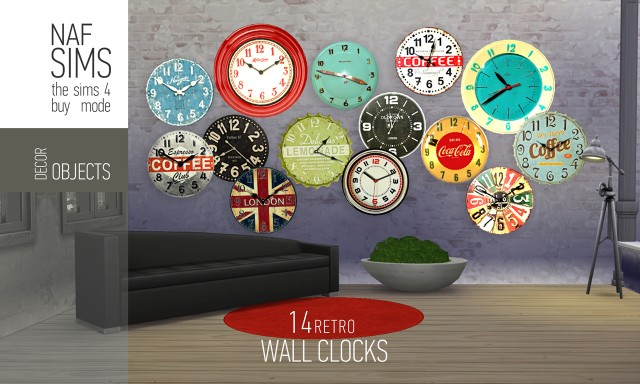14 Retro Wall Clocks by NafSims