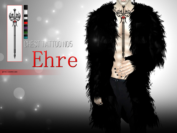 Ehre - Chest Tattoo N05 by Pralinesims
