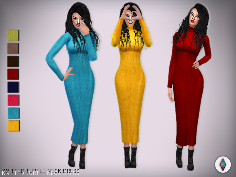 Knitted Turtle Neck Sweater Dress by NiteSkkySims