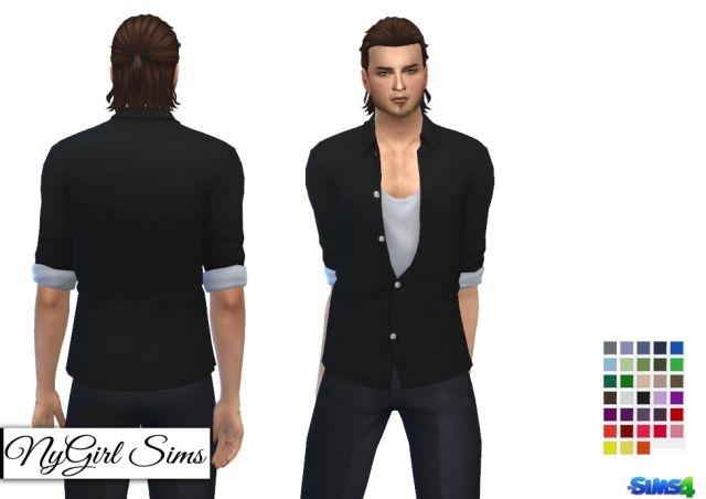 Movie Hangout Unbuttoned Shirt Edit for Base Game by NyGirl
