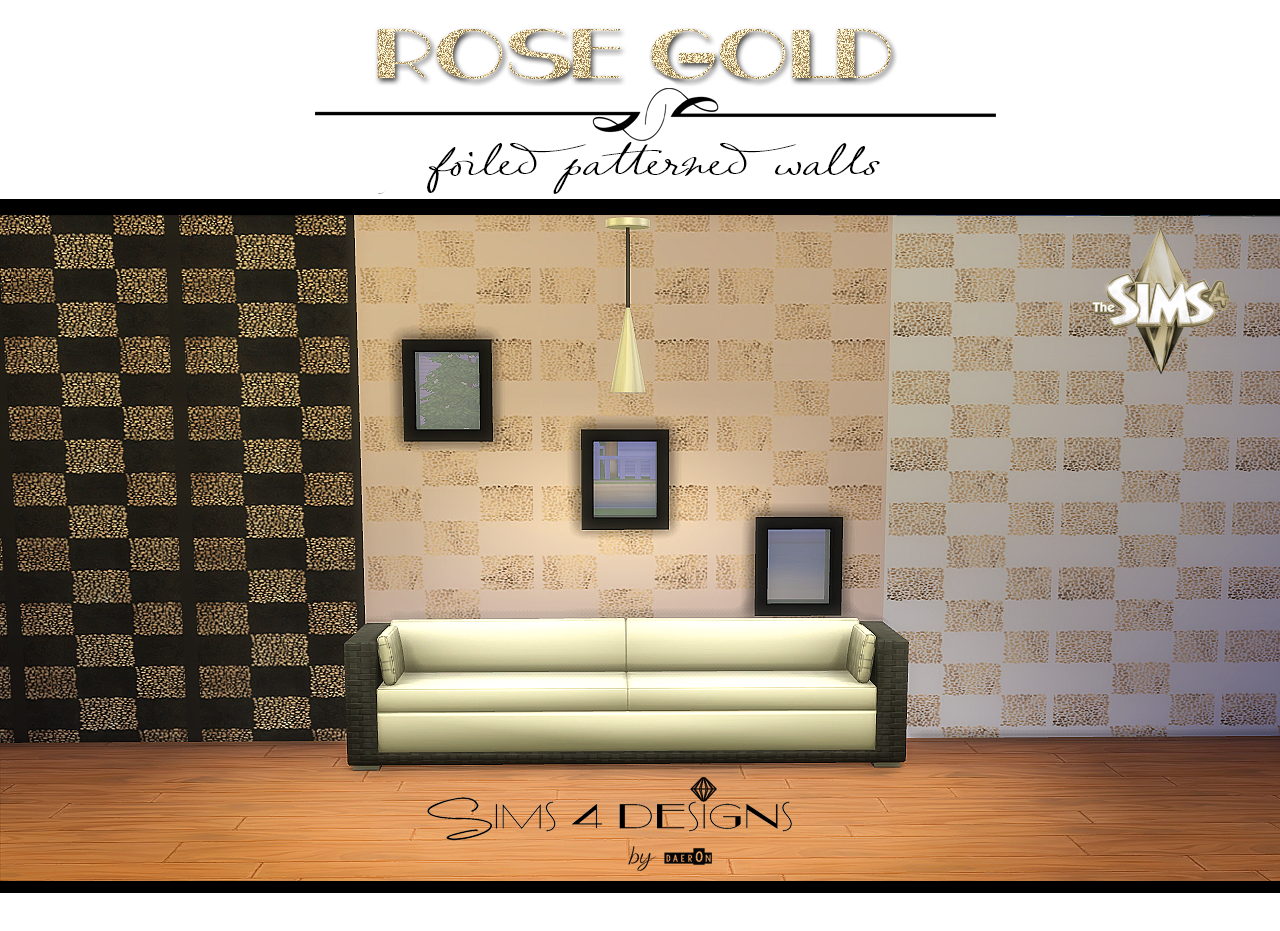 Rose Gold Foiled Patterned Wallpaper by Daer0n