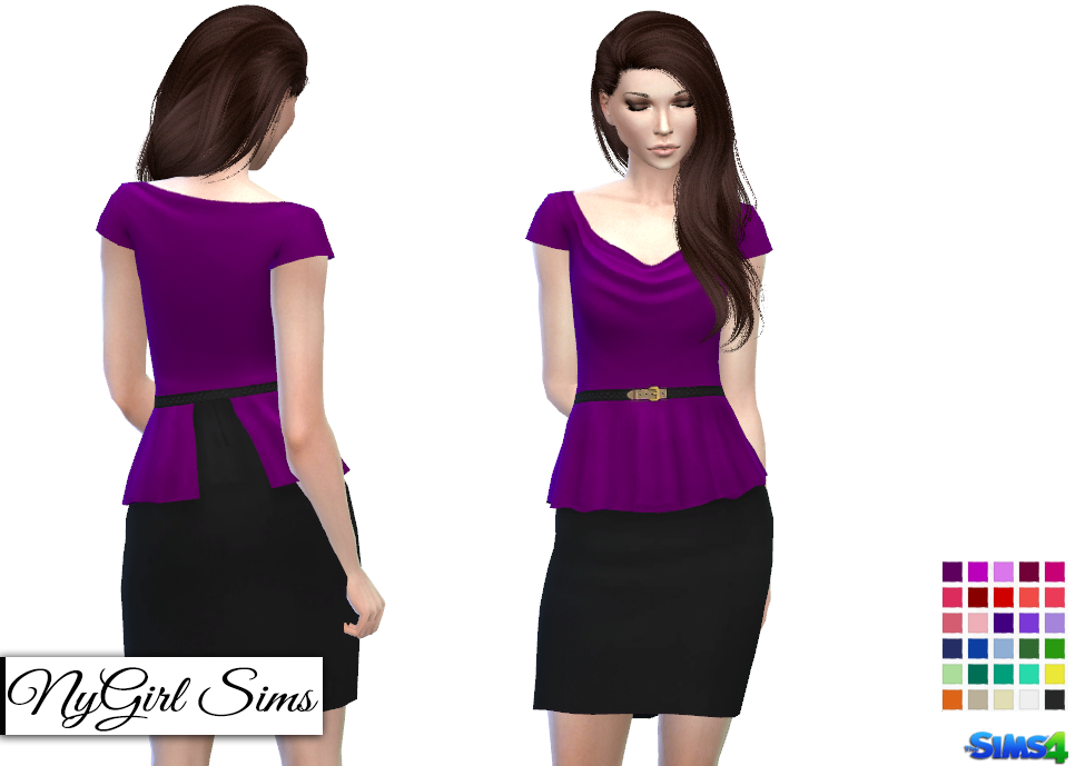 Belted Cowl Top Peplum Dress by nygirl