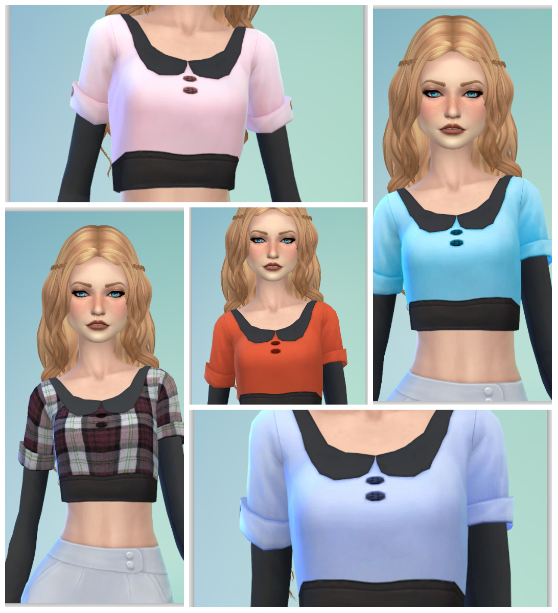Cropped Collar Tops for Females by Annabellee25