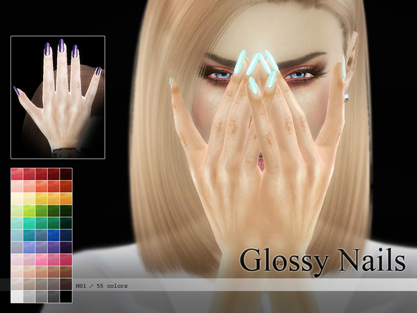 Glossy Nails N01 by Pralinesims