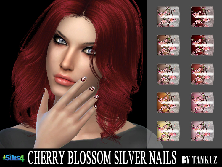Cherry Blossom Silver Nails by Tankuz