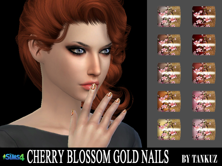 Cherry Blossom Gold Nails by Tankuz