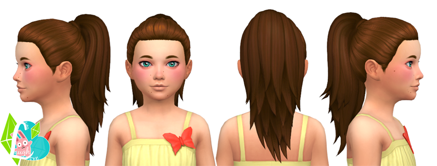 Simple Ponytail Hair Conversion for Girls by SimLaughLove